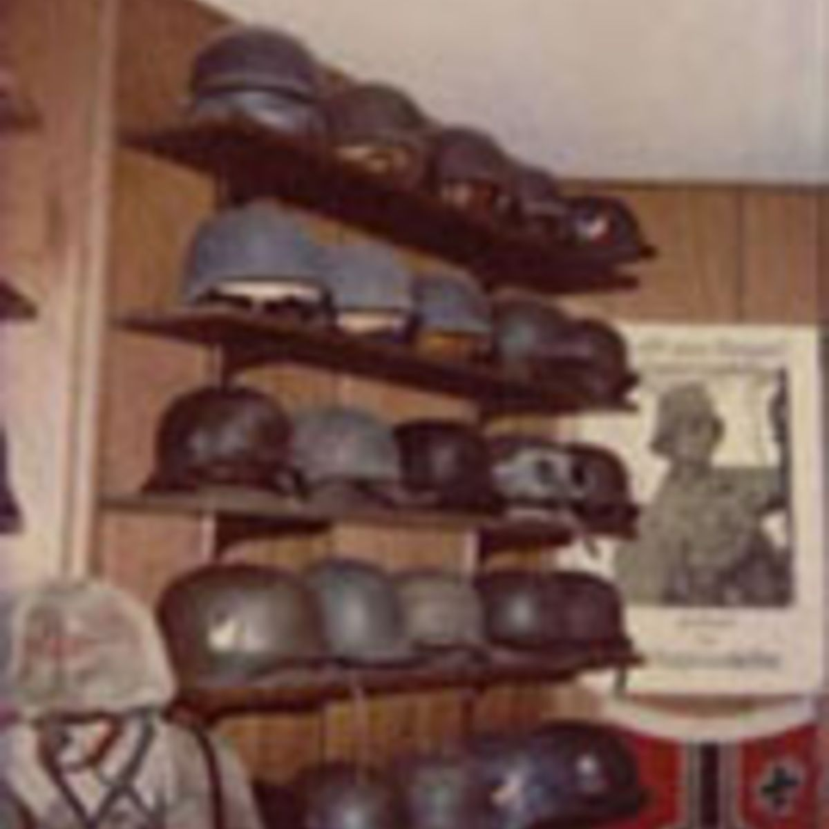 COLLECTION OF WWII GERMAN HELMETS.